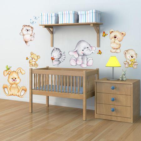 Crearreda dekorativna stenska nalepka Srčkane živalice, XL