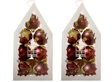 EverGreen božićne kuglice s zlatnom zvijezdom, bordo, 2x 7kom