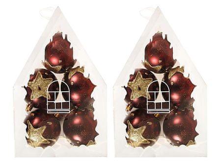 EverGreen božične bunkice z zlato zvezdo, bordo, 2x 5 kosov