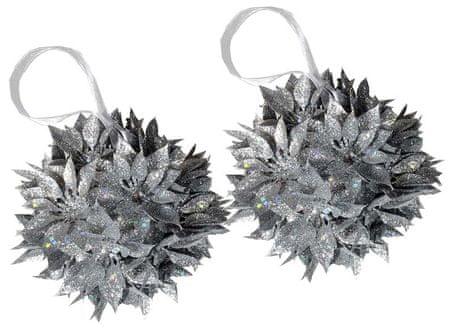 EverGreen božični ornament, božična zvezda, srebrna, 2 kosa