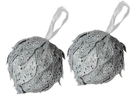 EverGreen božični ornament, listi, srebrna, 2 kosa