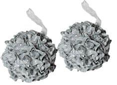 EverGreen božični ornament, roža, srebrna, 2 kosa