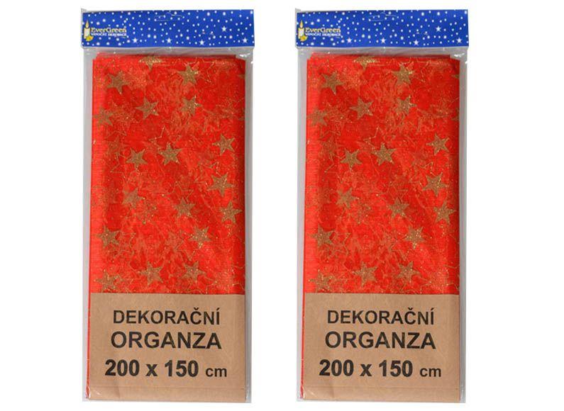EverGreen Dekorační organza vzor hvězdy 2 ks červená