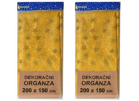 EverGreen Dekoračná organza vzor hviezdy väčšia 2 ks zlatá