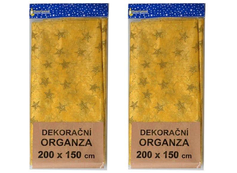 EverGreen Dekorační organza vzor hvězdy větší 2 ks zlatá
