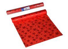 EverGreen Dekorační organza lesklá s hvězdami 2 ks červená