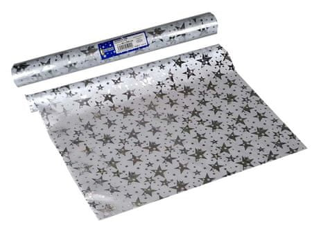 EverGreen dekorativni prt z zvezdami, srebrn, 2 kosa
