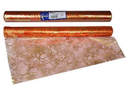 EverGreen dekorativni prt, vzorec iz vej, rdeč in zlat, 2 kosa
