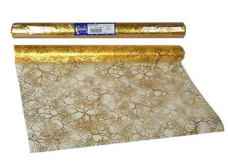 EverGreen dekorativni prt, vzorec iz vej, zlat, 2 kosa