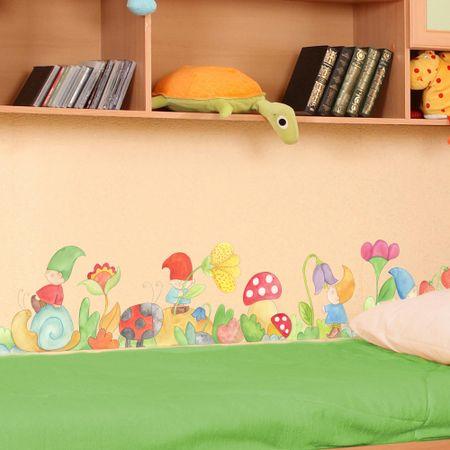 Crearreda dekorativna stenska bordura Palčki, 200x30 cm