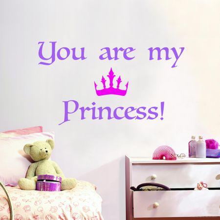 Crearreda dekorativna stenska nalepka Princess napisi, L