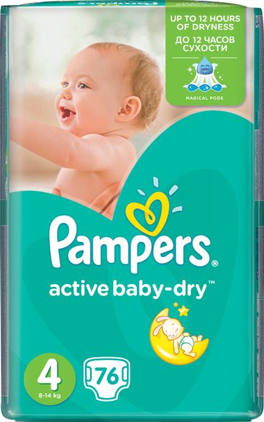 Pampers Pleny Active Baby 4 Maxi (7-14kg) Giant Pack - 76 ks