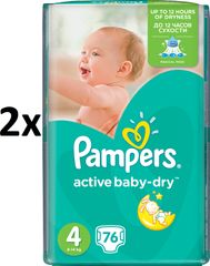 Pampers Active Baby 4 Maxi (7-14kg) Giant Pack - 152 ks