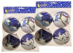 EverGreen božične bunkice, s snežnimi motivi in bleščici, 10 cm, 2x 4 kosov