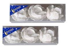 EverGreen set okraskov z bleščicami, cvet, bela, 8 cm, 6 kosov