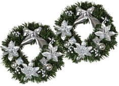 EverGreen božični venec, srebrn, 2 kosa