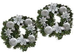 EverGreen Adventný veniec s kvetmi 2 ks strieborná