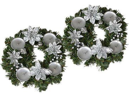 EverGreen adventni venec s svečami, srebrna, 2 kosa