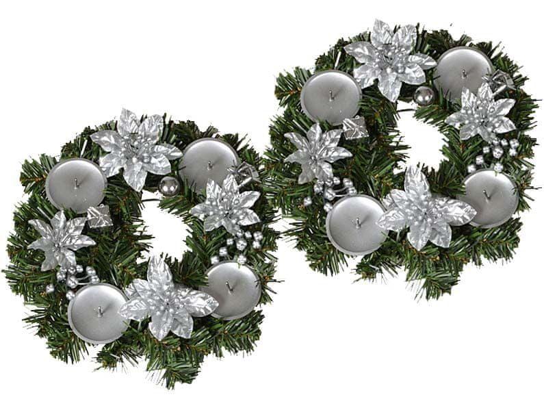EverGreen Adventní věnec s květy 2 ks stříbrná