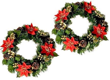 EverGreen božični venec s cvetjem, rdeče-zlat, 2 kosa