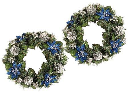 EverGreen božični venec s cvetjem, moder-srebrn, 2 kosa
