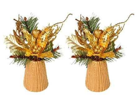 EverGreen namizni aranžma z božično zvezdo, zlat, 2 kosa
