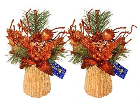 EverGreen namizni aranžma z božično zvezdo, bakren, 2 kosa