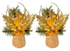 EverGreen Stołowa dekoracja z magnolii 2szt złota