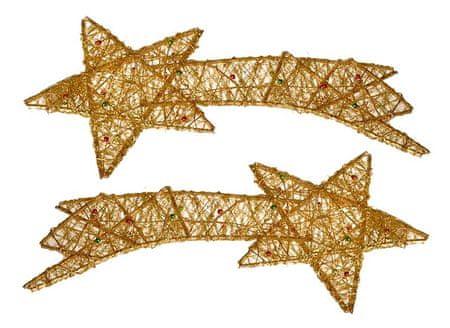 EverGreen zvezda repatica s perlami, zlata, 2 kosa