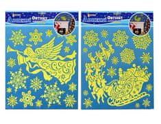 EverGreen Okenné dekorácie Santa a anjel svietiaci v tme 2ks