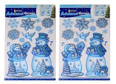 EverGreen Okenné dekorácie Veselí snehuliaci 2 ks