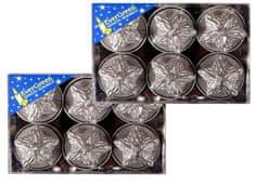 EverGreen Čajová sviečka reliéf hviezda 2x 6 ks strieborná