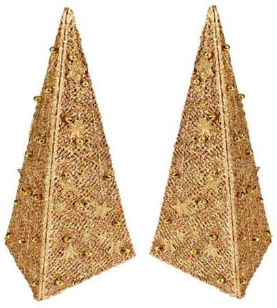 EverGreen Ozdobne piramidy złote 2 sztuki