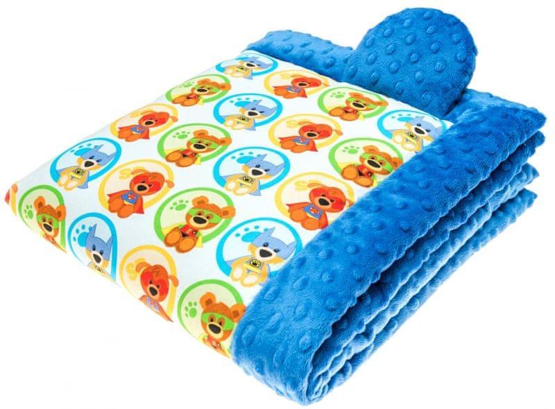 CuddlyZOO Dětská deka s výplní, vel. S - superhero/modrá