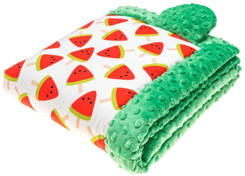 CuddlyZOO Dětská deka s výplní, vel. S - meloun/zelená