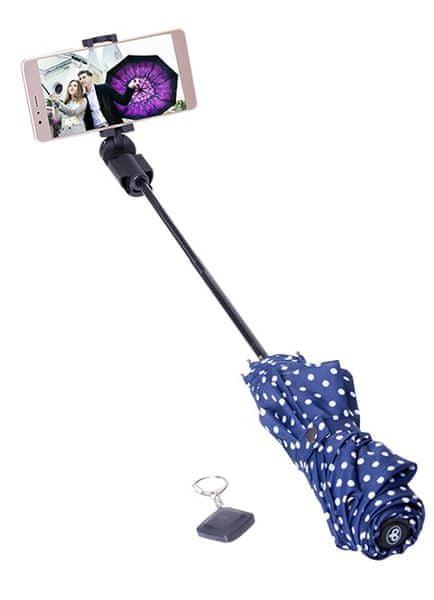 Papaler deštník a bluethooth selfie držák v jednom, modrý s puntíky