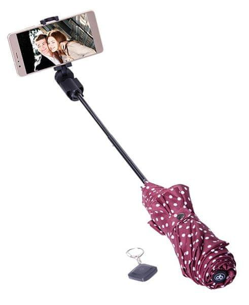 Papaler deštník a bluethooth selfie držák v jednom, červený s puntíky