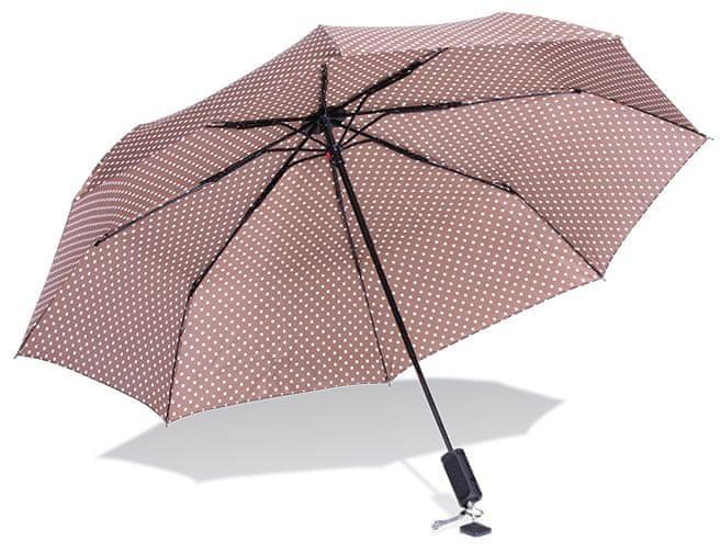Papaler deštník a bluethooth selfie držák v jednom, hnědý s puntíky