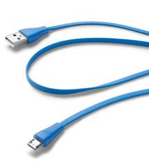 CellularLine plochý USB datový kabel s konektorem microUSB, modrý