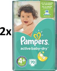 Pampers Active Baby 4+ Maxi (9-16kg) Giant Pack - 140 ks