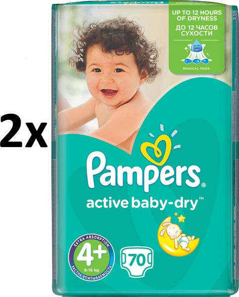 Pampers Pleny Active Baby 4+ Maxi (9-16kg) Giant Pack - 140 ks