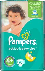 Pampers Pieluchy Active Baby 4+Maxi (9-16kg), 70 sztuk