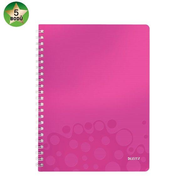 Blok na psaní Leitz WOW A4 čtverečkovaný metalicky růžový