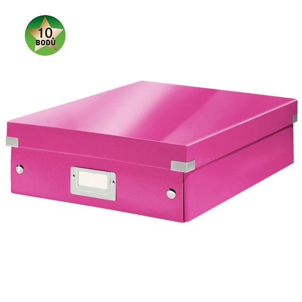 Krabice CLICK-N-STORE WOW střední organizační, růžová