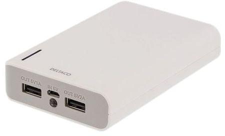 DELTACO prijenosna baterija PB-814, 10.000 mAh, 2x USB, LED svjetiljka, bijela