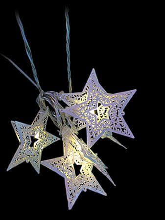 Noel Gwiazdy na łańcuchu 20 LED, białe