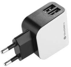 GoGEN nabíječka ACH 200, 2 x USB port, 2,1 A + 1 A, černá / bílá