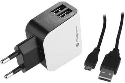 GoGEN nabíječka ACH 201 C, 2 x USB port + 120 cm microUSB kabel, 2,1 A + 1 A, černá / bílá
