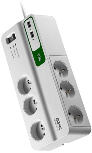 APC Essential SurgeArrest PM6U-FR, 6z s 2 USB nabíječkou 5V, 2.4A