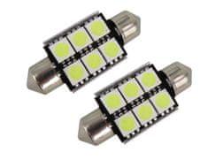 M-LINE žarnica LED 12V C5W 36mm 6xSMD 5050, bela, par